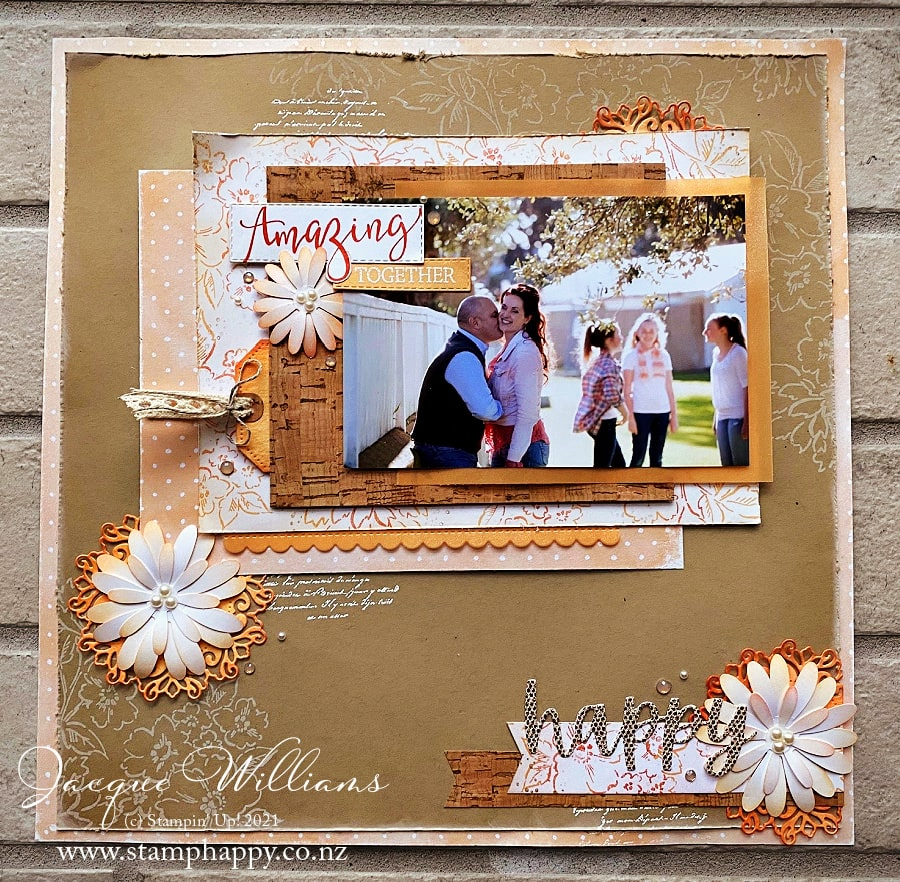 A collection of inspiration ideas with the Hand-Penned suite, including this 12x12 scrapbooking layout done in a vintage style.