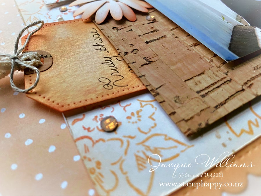A collection of inspiration ideas with the Hand-Penned suite, including this 12x12 scrapbooking layout done in a vintage style.     New cork paper