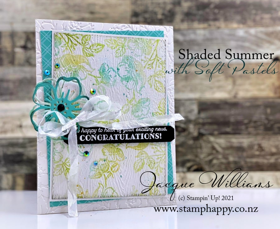 The new Shaded Summer stamps and dies look fantastic when paired with the new Soft Pastels (chalks) for color.   Craft classes in New Zealand.
