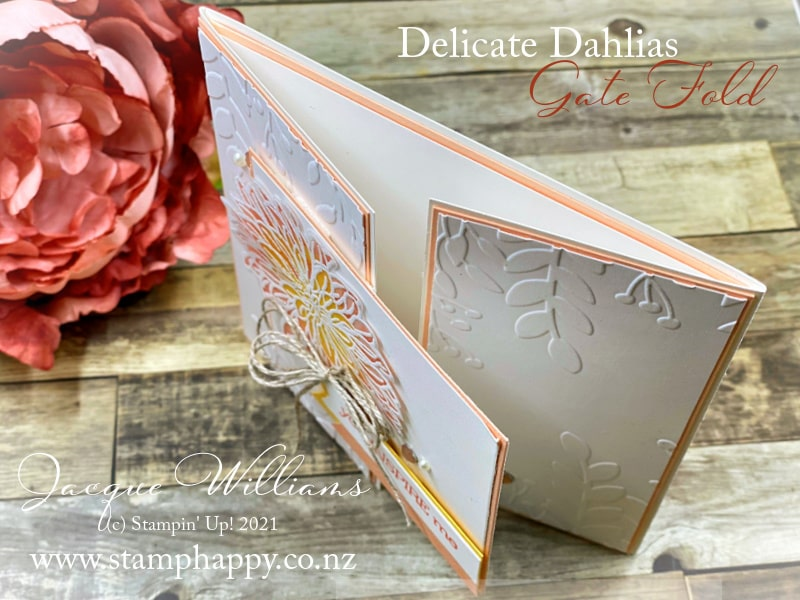 Stamp and color on Vellum for a very different look to the Delicate Dahlias stamp images.   This creates a soft, ethereal effect and is another use for your Stampin' Blends.
