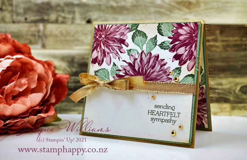 The Delicate Dahlias stamp set stamps out beautifully with depth and detail!  Use a simple masking technique to create this on layer card front.