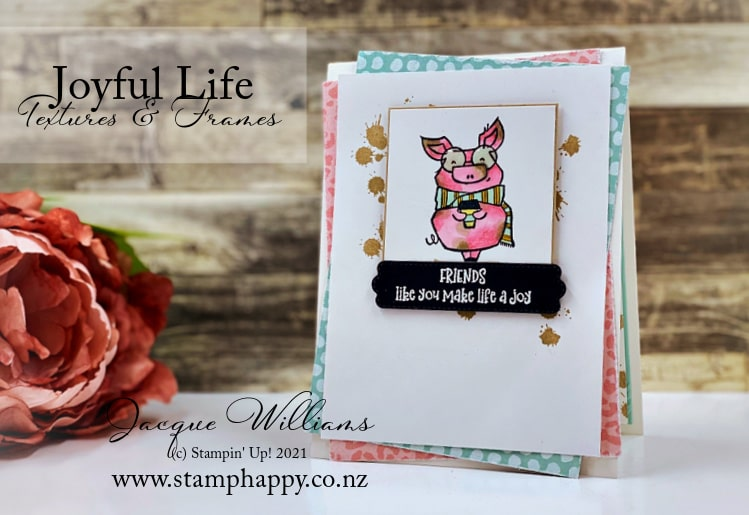 The adorable pig image in the Joyful Life stamp set colors up so cutely by mixing both the Flirty Flamingo and the Crumb Cake blends.