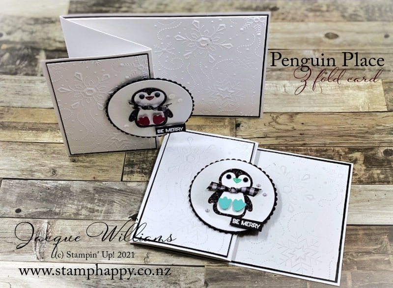 Make a cute Z fold Penguin Place card with the Penguin Punch.  Video Tutorial with Jacque Williams
