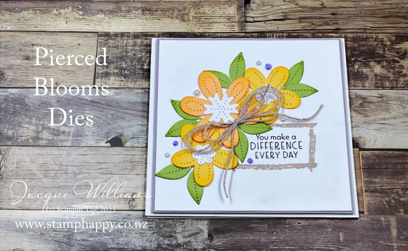 The Pierced Blooms die set pairs beautifully with the Textures and Frames for a clean and simple card.