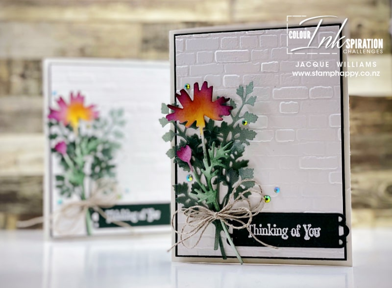 Make a gorgeous bouquet with the Quiet Meadow bundle, Blending Brushes, and your favorite ink colors.   with Jacque Williams in New Zealand for card and craft classes