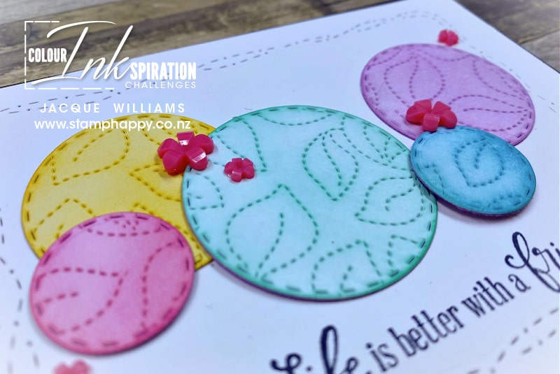 Use leftover pieces, ink pads, and your blending brushes to create a fun bubble effect on your next project