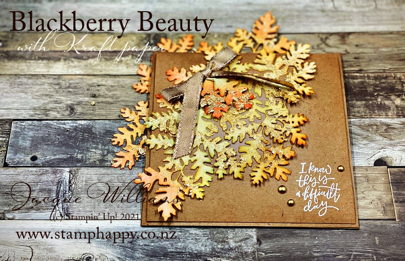 Make a gorgeous autumn project with the big, beautiful leaf spray from the Blackberry Beauty Suite or the Beauty of Tomorrow Bundle. It's amazing what Blending Brushes and Gilded Gold Leafing can achieve!
