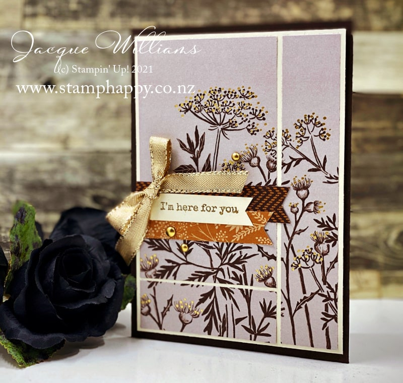 Make a quick card with the large border print in the Blackberry Beauty paper pack!  Metallic accents and neutral embellishments make this gorgeous print the star of the show.