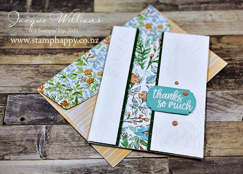 Quick, effective card template with the Hand Penned papers.  Great way to use up scraps!  Card classes online or in New Zealand