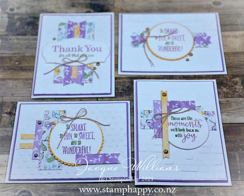 Create a fun, and a little bit different, one sheet wonder set of cards with a 6x6 piece of printed paper!  Jacque Williams, Ind. Stampin' Up! Demonstrator in New Zealand