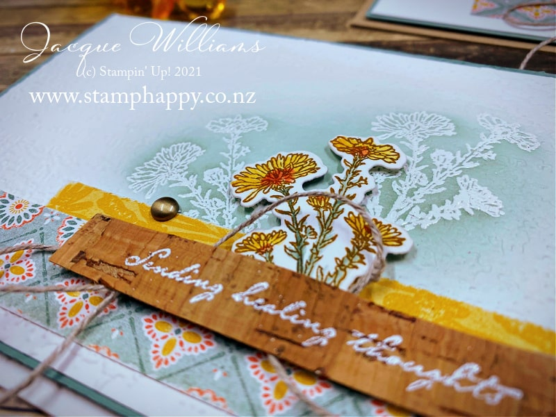 Learn the emboss resist technique while making an earthy card with the new Nature's Harvest Suite.   Embossing on Cork paper.