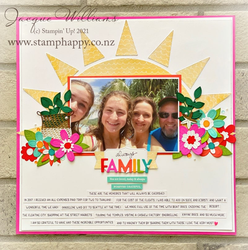 Create a striking tropical double page scrapbooking layout with the Pierced Blooms dies and a bright, happy sun.   Kits for sale in New Zealand.  Inspired by Raquel Bowman.