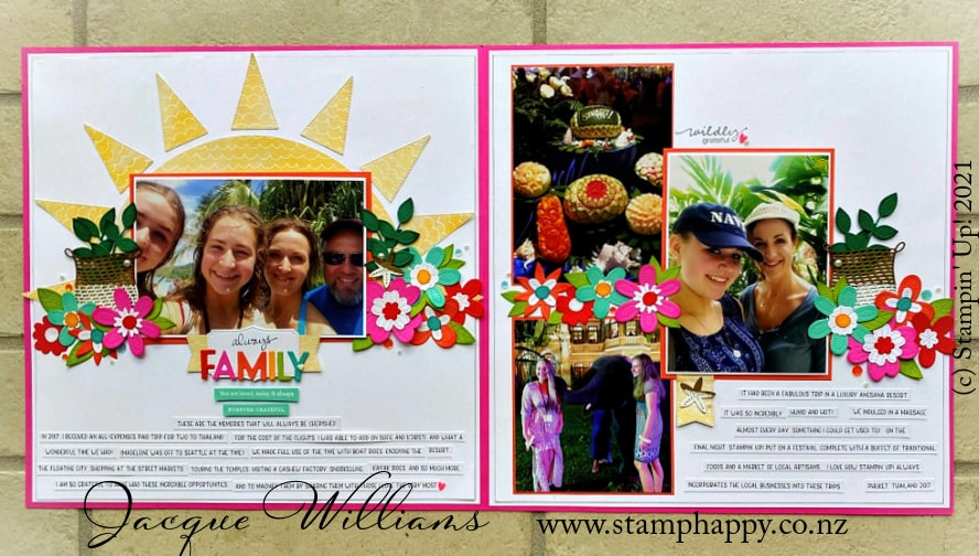 Create a striking tropical double page scrapbooking layout with the Pierced Blooms dies and a bright, happy sun.   Kits for sale in New Zealand.  Inspired by Raqel Bowman.
